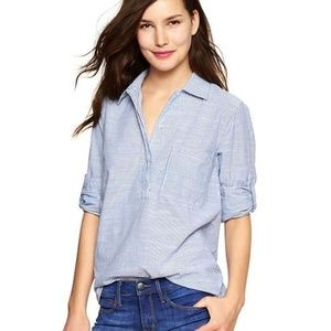 GAP Stripe Henley Popover Tunic Blue Stripe